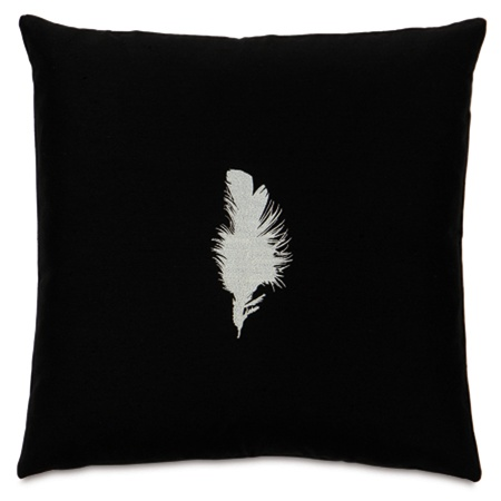 Tuxedo Feather Embroidered Designer Pillow